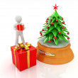3D human, gift and Christmas tree  — Stock Photo