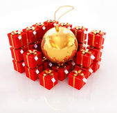 Bright christmas gifts and toy — Stock Photo