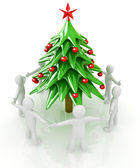 3D human around Christmas tree — Stock Photo