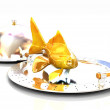 Gold fish on restaurant cloche — Stock Photo #32952101