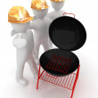 3d mans in a hard hat and barbecue grill — Stock Photo