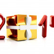 Abstract 3d illustration of text 2014 with present box — Stock Photo