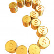 Number three of gold coins with dollar sign — Stock Photo
