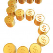 Number five of gold coins with dollar sign — Stock Photo