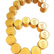 Number six of gold coins with dollar sign — Stock Photo
