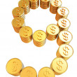 Number nine of gold coins with dollar sign — Stock Photo