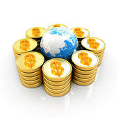 Gold dollar coin stack around the Earth — Stock Photo