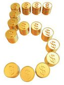 """Number """"five"""" of gold coins with dollar sign — Stock Photo"""