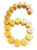 "Number ""six"" of gold coins with dollar sign — Stockfoto"