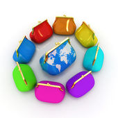 Purse Earth and purses. On-line concept — Stock Photo