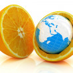 Earth on orange fruit on white background. Creative conceptual i — Stock Photo #36522257
