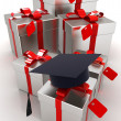 Graduation hat and gifts on a white background — Stock Photo #36748559