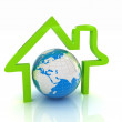 3d green icon house, earth on white background — Stock Photo #36748931