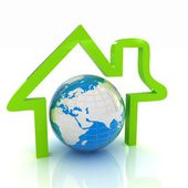 3d green icon house, earth on white background — Stock Photo