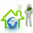 3d man, house icon and earth — Stock Photo
