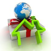 House icon, earth and gift — Stock Photo