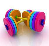 Colorfull realistic dumbbell — Stock Photo