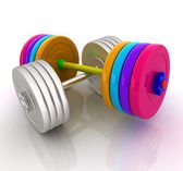 Colorfull realistic dumbbell and metall dumbbell — Stock Photo