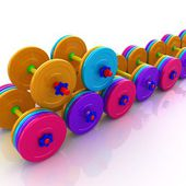Colorfull realistic dumbbells — Stock Photo