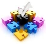 Puzzle of the four elements. Conceptual image - a palette CMYK — Stock Photo