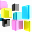 Stock Photo: Glossy CMYK cubes on white