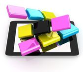 Tablet PC with colorful CMYK application icons isolated on white — Stock Photo