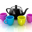 Colorfall cups and teapot — Stock Photo