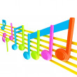 Stock Photo: Various music notes on stave. Colorfull 3d
