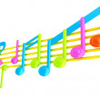Various music notes on stave. Colorfull 3d — Stock Photo