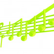 Various music notes on stave. Green 3d — Stock Photo
