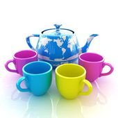 Colorfull cups and teapot for earth — Stock Photo