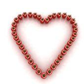 Bulgarian Pepper Heart Shape, On White Background — Stock Photo