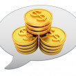 Stock Photo: Messenger window icon and Gold dollar coins