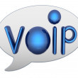 Messenger window icon and Blue metallic word VoIP — Stock Photo