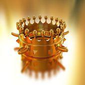 Couronne d'or isolé sur fond d'or — Photo