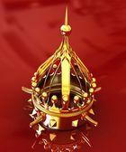 Guld krona isolerad på röd bakgrund — Stockfoto