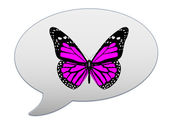 Messenger window icon and red butterfly — Stock Photo