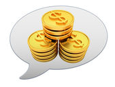 Messenger window icon and Gold dollar coins — Stockfoto