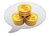 Messenger окно значок и золотой доллар монеты — Стоковое фото