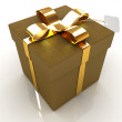 Leather gift-box with gold ribbon — Stock Photo #40213971