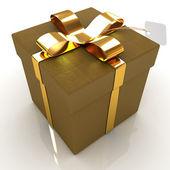 Couro-caixa de presente com fita de ouro — Fotografia Stock
