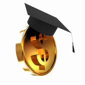 Graduation hat on gold dollar coin — Stock Photo