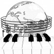 Stock Photo: Pencil drawing of Global Music
