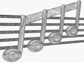 Pencil drawing of a note on a stave — Stock Photo