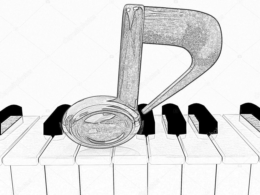 Disegno di una nota 3d su un pianoforte a matita foto for Disegno di piano domestico