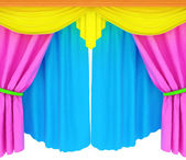 Colorfull curtains isolated on a white background  — Stock Photo
