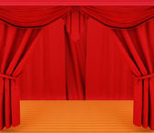 Red curtains and wooden scene floor  — Стоковое фото