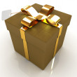 Leather gift-box with gold ribbon — Stock Photo