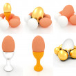 Eggs and gold easter egg on egg cups. 3D set — Stock Photo #44034487