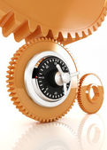 Gears with lock — Stock Photo